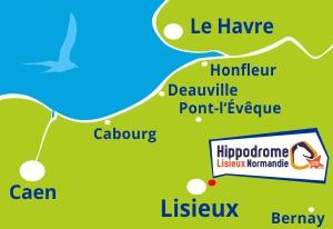 Carte Hippodrome Lisieux pays auge normandie